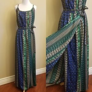 Plus Size F21 Blue Green Multi Maxi Dress 2X